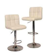2 White Modern Bar Stool PU Leather Adjustable Swivel Hydraulic Chair Counter
