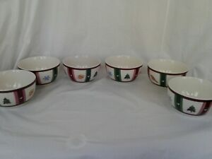Pfaltzgraff Snow Bear Christmas Holiday Soup/Cereal Bowl Set of 6 Excellent