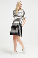 French Connection Tim Tim Striped Pocket Black and White Tunic Dress Size 10