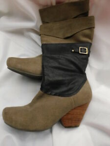 """OTBT BOOTS taupe GRAY & black SUEDE LEATHER mid calf shoes 3"""" heels 8  8.5 fur"""