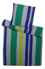 Seersucker Mikrofaser Bettwäsche Set 155x220cm Lila/Grün gestreift bügelfrei