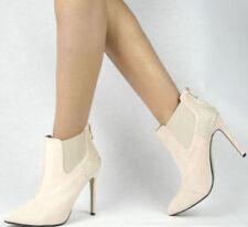 Scarpe da donna Stivaletti beige tessile