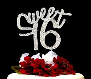 """""""Sweet 16"""" Rhinestone Girl's 16th Birthday Party Cake Topper Size 4.5 In. X 4 In"""