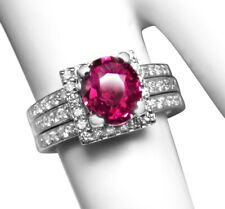 .75Ct Diamonds Ring -Valued At $5000 Fine Vintage 1.76Ct Pink Sapphire, 14K +