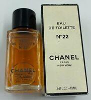 CHANEL NO 22 EAU DE TOILETTE 19 ml 0.64 fl oz vintage MINIATURE BNIB