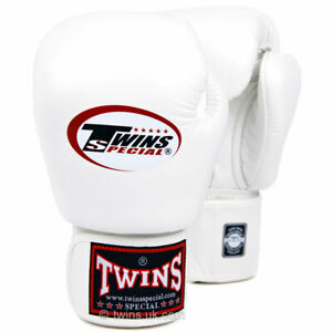 Twins BGVL-3 Leather Boxing Gloves White Boxing Sparring Kickboxing Muay Thai