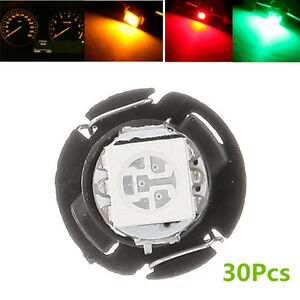 30Pcs T4.7 Neo Wedge 5050 LED Car Panel Gauges Lamp Climate Control Light Bulbs
