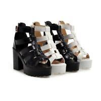 Women Hollow High Chunky Block Heel Platform Strappy Open Toe Punk Sandals Shoes