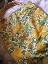 Canvas Fabric Floral Tote with Wooden Handle Yellow and Green