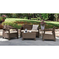 Brown Resin Wicker Patio Conversation Seating Set Outdoor Home Furniture