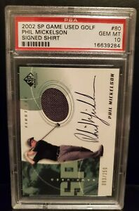 2002 SP GAME USED PHIL MICKELSON AUTO PATCH RC PSA 10 #/250 LEFTY