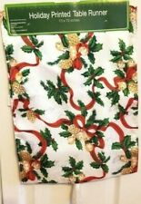 """Holiday Printed Table Runner 13"""" x 72"""" Christmas Bells and cones"""