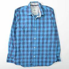 Mini Boden Blue Plaid Shirt Long Sleeve Button Front Cotton Boys 11-12Y