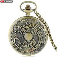 Vintage Bronze Dragon Pocket Watch Quartz Necklace Pendant Chain Antique Gift