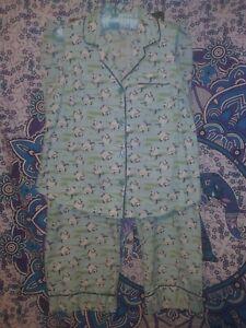 New Carole Littles 2 Piece Pajama Set Large L Green Fish Pattern 100% Cotton !!!