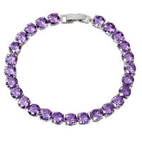 AB292 Purple Cubic zirconia amethyst White gold plated Bracelets & bangles