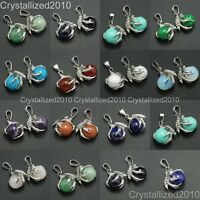 Natural Gemstone Dragon Claw Ball Reiki Chakra Healing Pendant Necklaces Beads