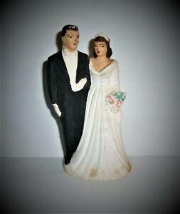 WEDDING CAKE TOPPER Vintage Bride Groom Chalkware Painted Brown Hair 1951 ACA