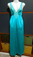 Olga (Shadowline) Womans Size S Nightgown Green/Blue Sexy Lace Scallop Front .