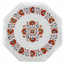 """12"""" Marble coffee Table Top Carnelian Inlaid Work For Home Furniture Decor"""