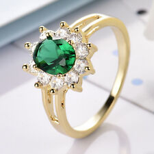 Flower Sun Oval Emerald Crystal 18K Gold Filled Women Lady Party Cocktail Rings