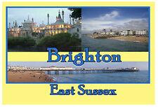 BRIGHTON - EAST SUSSEX - SOUVENIR NOVELTY FRIDGE MAGNET - SIGHTS / FLAG / GIFTS
