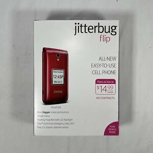 GreatCall Jitterbug Flip Phone Cell 24hr Emergency Safety Support Senior Red NIB