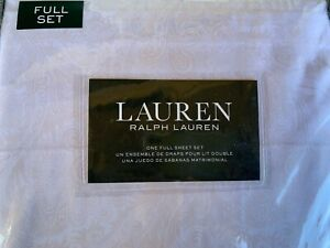 Ralph Lauren White Beige Paisley Medallion Damask Full Sheet Set 4 pieces New