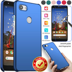 For Google Pixel 3a XL3 XL 3 Shockproof PC Protective Case Cover+Tempered Glass
