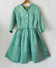 Vtg Cathay 50's Swing Dress Silk/Rayon Tear Blue Floral Brocade 3/4Sleeve SizeS