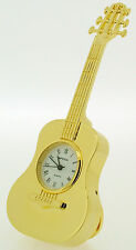 Miniature Novelty Acoustic Guitar Clock in Gold Finish