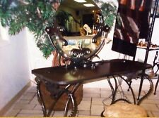 ***AWESOME LUNA BELLA MIRRORED METAL & WOOD ARTISAN VANITY TABLE & STOOL