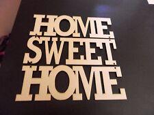 In Legno Home Sweet Home. PIASTRA a parete TAGLIO LASER 3 mm in Bianco MDF Craft