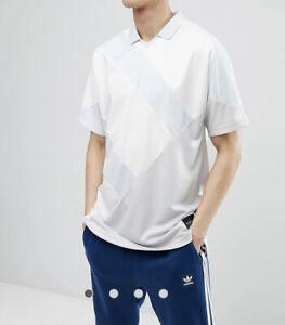 Adidas EQT Polo Shirt Equipment 18 SS Sportswear White Blue 3 Stripe Mens S NEW