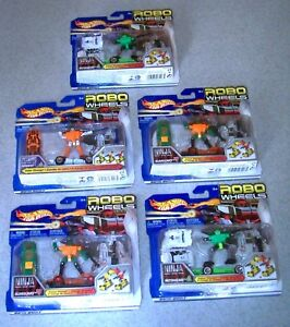 ( 5) Vintage 2002 Mattel Hot Wheels ROBO WHEELS Transformautos NEW / OLD STOCK