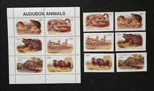 Abhazia -Animsls-Audubon,6 St.+1 M/SH.1998- MNH,AR 08B