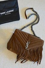NWT YSL Saint Laurent Monogram Medium Fringe College Suede Shoulder Bag $2450