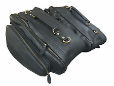 Motorcycle Luggage Storage Panniers Saddle Bags Black Bridle Leather Expandable