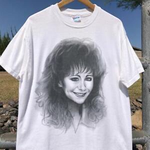 Rare VTG 90s Hanes Reba McEntire Airbrush Art Big Face Music Band T Shirt L