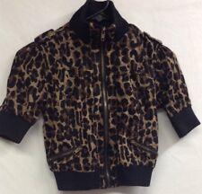 Kelly Girls M Medium Short Sleeve Jacket Animal Print Zipper