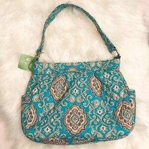 NEW $65 VERA BRADLEY Reversible Tote 10912 Hobo Shoulder Bag Totally Turq