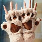 Soft Warm Fashion Winter Women Paw Gloves Fingerless Fluffy Bear Cat Plush Paw
