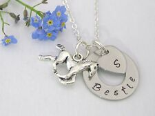 BESTIE Best Friend Personalised Necklace Horse & Heart Initial Gift