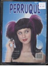 Perruque femme couettes violettes et frange Gothique noire [26224] deguisement
