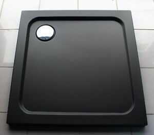 760x760 BLACK MATT Square Stone Slimline Shower Tray 35mm inc Waste