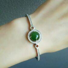 natural Jade bracelet real green jade bangle vintage 925 Sterling solid silver