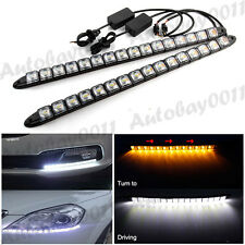 2x White Amber Flexible LED Strip Daytime Running Light DRL Turn Signal Light