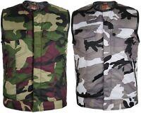 Camouflage Bikerweste Motorrad weste Clubweste Rockerweste Textil Tan Weste