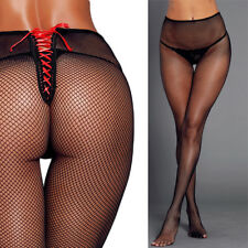 Simple Vintage Fishnet Stockings Red Lace Up Bow Back Tights Full Pantyhose OS