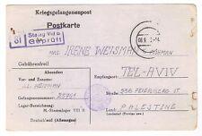 WW2 GERMANY Jewish Soldier Brigade POW in Germany CENSOR PC to PALESTINE Aug1943